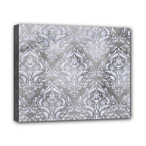 Damask1 White Marble & Silver Paint Canvas 10  X 8  by trendistuff