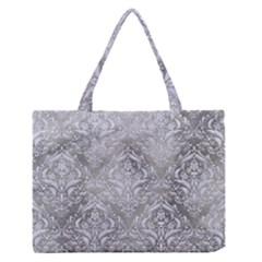 Damask1 White Marble & Silver Paint Zipper Medium Tote Bag