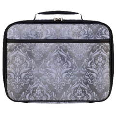 Damask1 White Marble & Silver Paint Full Print Lunch Bag