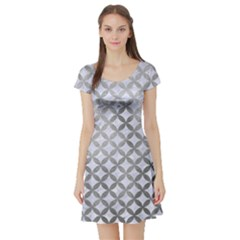 Circles3 White Marble & Silver Paint (r) Short Sleeve Skater Dress
