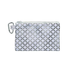 Circles3 White Marble & Silver Paint (r) Canvas Cosmetic Bag (small) by trendistuff
