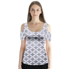 Circles3 White Marble & Silver Paint Butterfly Sleeve Cutout Tee