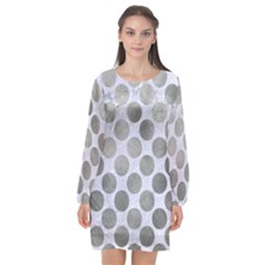 Circles2 White Marble & Silver Paint (r) Long Sleeve Chiffon Shift Dress