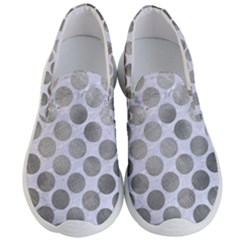 Circles2 White Marble & Silver Paint (r) Men s Lightweight Slip Ons