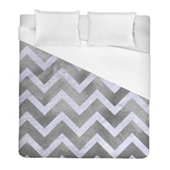 Chevron9 White Marble & Silver Paint Duvet Cover (full/ Double Size)