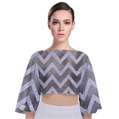 Chevron9 White Marble & Silver Paint Tie Back Butterfly Sleeve Chiffon Top