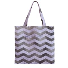 Chevron3 White Marble & Silver Paint Zipper Grocery Tote Bag by trendistuff