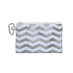 Chevron3 White Marble & Silver Paint Canvas Cosmetic Bag (small) by trendistuff