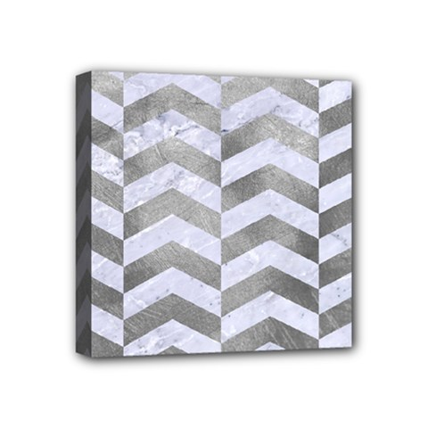 Chevron2 White Marble & Silver Paint Mini Canvas 4  X 4