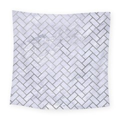 Brick2 White Marble & Silver Paint (r) Square Tapestry (large) by trendistuff