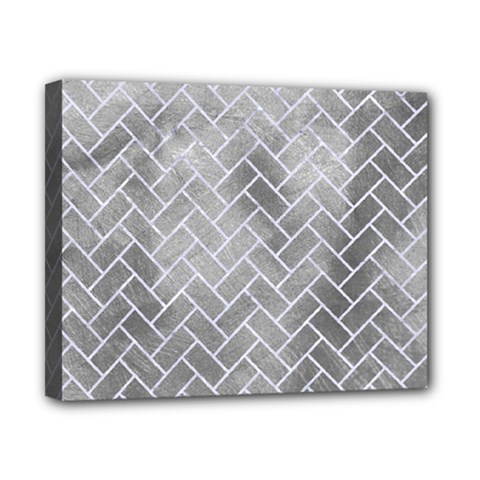 Brick2 White Marble & Silver Paint Canvas 10  X 8  by trendistuff