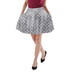 Brick2 White Marble & Silver Paint A Line Pocket Skirt