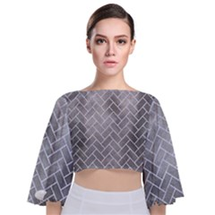 Brick2 White Marble & Silver Paint Tie Back Butterfly Sleeve Chiffon Top