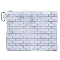 Brick1 White Marble & Silver Paint (r) Canvas Cosmetic Bag (xxl) by trendistuff