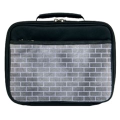 Brick1 White Marble & Silver Paint Lunch Bag