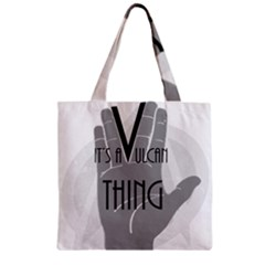 Vulcan Thing Zipper Grocery Tote Bag by Howtobead