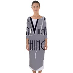 Vulcan Thing Quarter Sleeve Midi Bodycon Dress