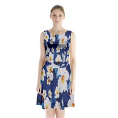 Anemone Flowers Print Sleeveless Waist Tie Chiffon Dress