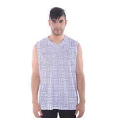 Woven1 White Marble & Silver Glitter Men s Basketball Tank Top