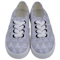 Triangle3 White Marble & Silver Glitter Kids  Classic Low Top Sneakers