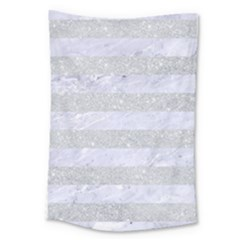 Stripes2white Marble & Silver Glitter Large Tapestry by trendistuff