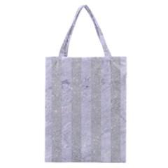 Stripes1 White Marble & Silver Glitter Classic Tote Bag by trendistuff