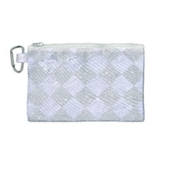 Square2 White Marble & Silver Glitter Canvas Cosmetic Bag (medium) by trendistuff