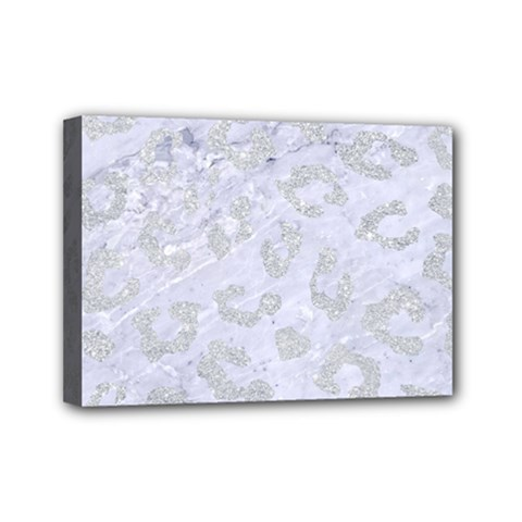 Skin5 White Marble & Silver Glitter Mini Canvas 7  X 5  by trendistuff