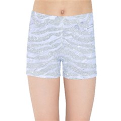 Skin2 White Marble & Silver Glitter Kids Sports Shorts