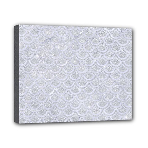 Scales2 White Marble & Silver Glitter Canvas 10  X 8  by trendistuff