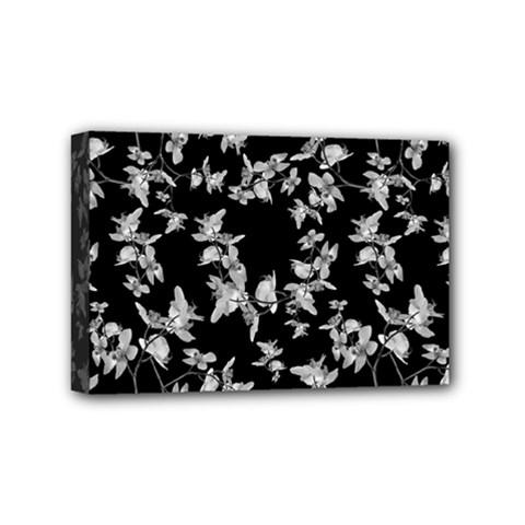 Dark Orquideas Floral Pattern Print Mini Canvas 6  X 4  by dflcprints