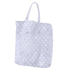Scales1 White Marble & Silver Glitter (r) Giant Grocery Zipper Tote