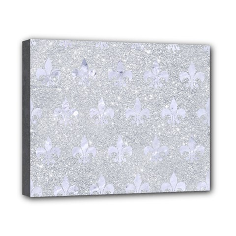 Royal1 White Marble & Silver Glitter (r) Canvas 10  X 8  by trendistuff