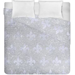 Royal1 White Marble & Silver Glitter (r) Duvet Cover Double Side (king Size) by trendistuff