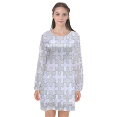 Puzzle1 White Marble & Silver Glitter Long Sleeve Chiffon Shift Dress