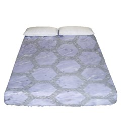 Hexagon2 White Marble & Silver Glitter (r) Fitted Sheet (queen Size) by trendistuff