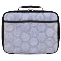 Hexagon2 White Marble & Silver Glitter (r) Full Print Lunch Bag by trendistuff