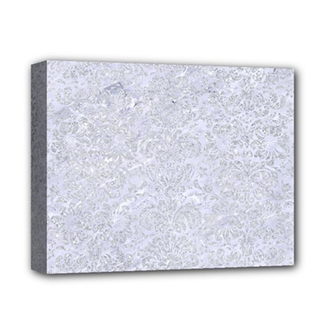 Damask2 White Marble & Silver Glitter (r) Deluxe Canvas 14  X 11  by trendistuff