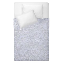 Damask2 White Marble & Silver Glitter (r) Duvet Cover Double Side (single Size) by trendistuff