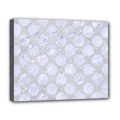 Circles2 White Marble & Silver Glitter Deluxe Canvas 20  X 16   by trendistuff