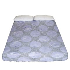 Circles2 White Marble & Silver Glitter Fitted Sheet (queen Size) by trendistuff