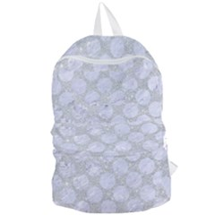 Circles2 White Marble & Silver Glitter Foldable Lightweight Backpack