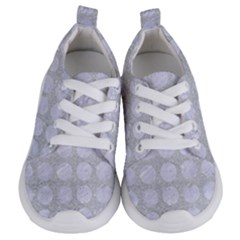 Circles1 White Marble & Silver Glitter Kids  Lightweight Sports Shoes