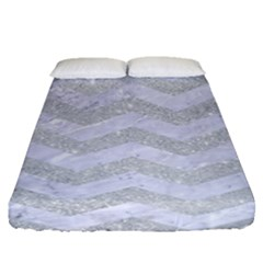 Chevron3 White Marble & Silver Glitter Fitted Sheet (queen Size) by trendistuff