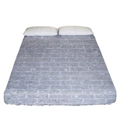 Brick1 White Marble & Silver Glitter Fitted Sheet (queen Size) by trendistuff