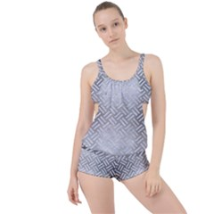 Woven2 White Marble & Silver Brushed Metal Boyleg Tankini Set