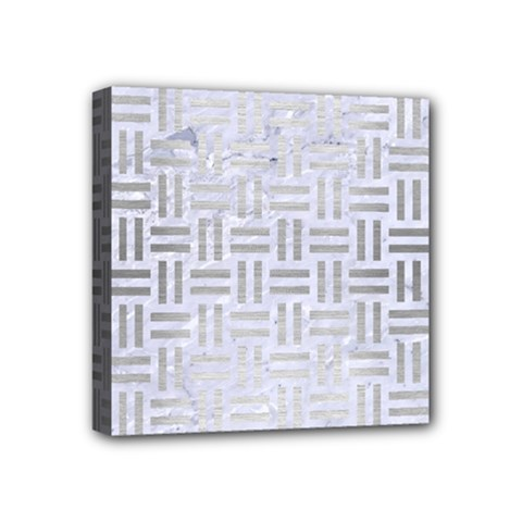 Woven1 White Marble & Silver Brushed Metal (r) Mini Canvas 4  X 4