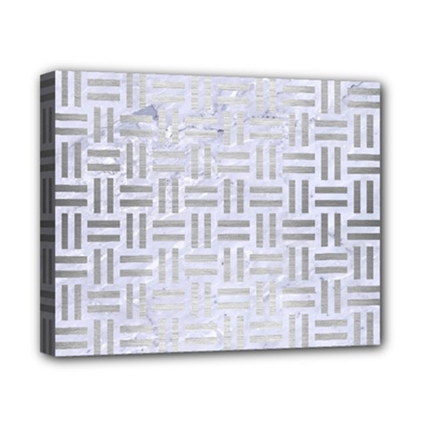 Woven1 White Marble & Silver Brushed Metal (r) Canvas 10  X 8  by trendistuff