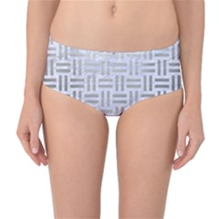 Woven1 White Marble & Silver Brushed Metal (r) Mid Waist Bikini Bottoms