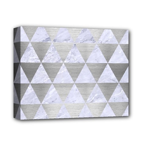 Triangle3 White Marble & Silver Brushed Metal Deluxe Canvas 14  X 11  by trendistuff